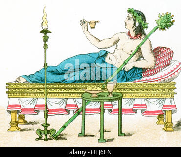 The illustration here shows an ancient Greek couch with table and candelabrum, and a flaming torch. The illustration - Stock Photo