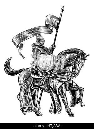 A knight holding a spear or lance with banner flag and shield on the back of horse in a medieval vintage woodcut - Stock Photo