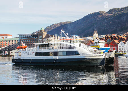Ferryboat in Bergen, Norway. Ferry commits a cruise on the fjord. - Stock Photo