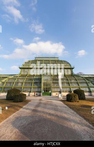 Palm House or Palmenhaus in the Schönbrunn palace gardens, Vienna, Austria. - Stock Photo