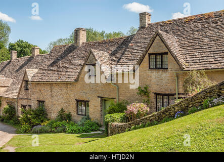 Houses of Arlington Row in the village of Bibury, England, United Kingdom - Stock Photo