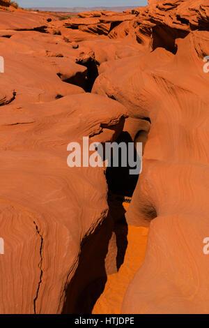 Entrance to Lower Antelope Slot Canyon, Paige, AZ, USA - Stock Photo