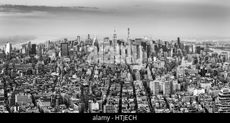 Aerial view of New York City midtown skyline in black and white - Stock Photo