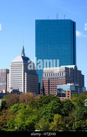 Boston's Back Bay skyline as seen from the Public Gardens - Stock Photo