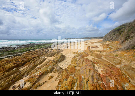 Brou Beach and its stunning rock formations on the Sapphire Coast, New South Wales, NSW, Australia - Stock Photo