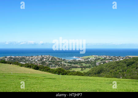 View of Kiama and Easts Beach, a scenic small coastal and touristic town on the Illawarra Coast, New South Wales, - Stock Photo