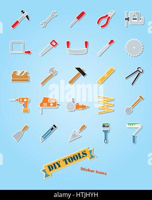 Collection of 25 do it yourself tools sticker icons - Stock Photo