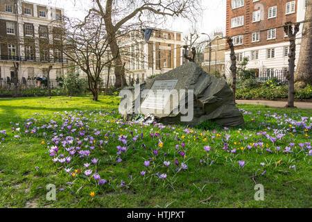 Conscientious Objectors Stone, Tavistock Square, London - Stock Photo