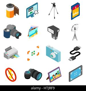 Photography icons set, isometric 3d style - Stock Photo