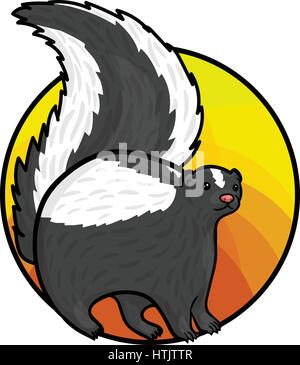 Animal art, cute cartoon style, hand drawn vector illustration. Cute furry skunk, cartoon style - Stock Photo