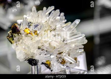 Sphalerite quartz chalcopyrite mineral - Stock Photo