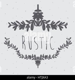 Vector Illustration Gray Flowers Design Rustic Icon