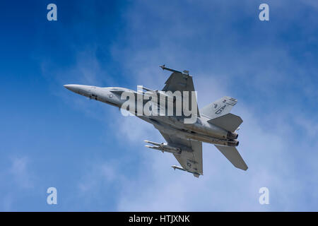 Boeing F/A-18 Hornet flying on July 25th 2010 at Farnborough, Hampshire, UK - Stock Photo