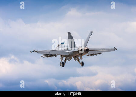 Boeing F/A-18 Hornet on finals to land on July 25th 2010 at Farnborough, Hampshire, UK - Stock Photo