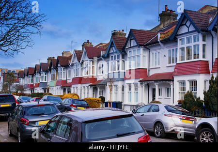 11th March 2017 Chiswick W4. Residential street in a suburban part of West London, UK. Vehicle registration numbers - Stock Photo