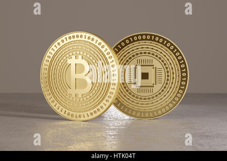 Two shiny golden bitcoins standing on metal floor as concept for financial technology and crypto-currency