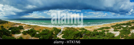 panoramic view from lighthouse darsser ort on baltic sea - Stock Photo