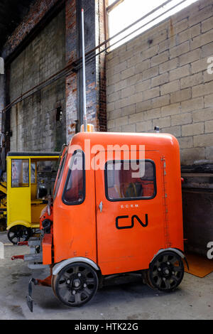 Two-seat orange MT-19 Canadian National 5606 Fairmont motor car / inspection car, Onan gasoline engine used by the - Stock Photo