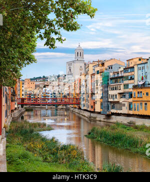 Old Girona town, view on river Onyar - Stock Photo