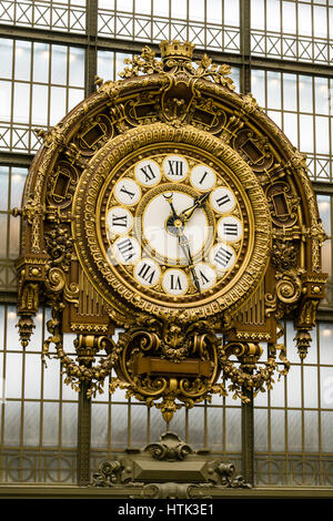 Main Hall of the Musée d'Orsay,Musée d'Orsay Clock, Victor Laloux, Paris, France. - Stock Photo