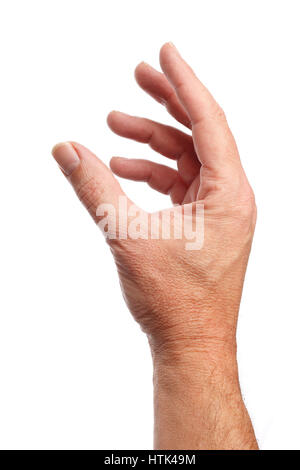Well shaped male hand picking something. Isolated on white background - Stock Photo