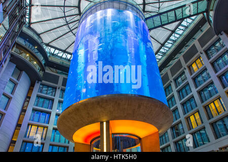 The Aquadom at Radisson Blu Hotel, Berlin, Germany - Stock Photo