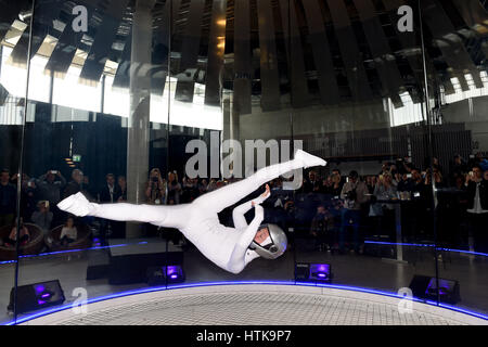 Taufkirchen, Germany. 8th Mar, 2017. Inka Tiitto, indoor skydiving world champion, in a wind tunnel at the press - Stock Photo