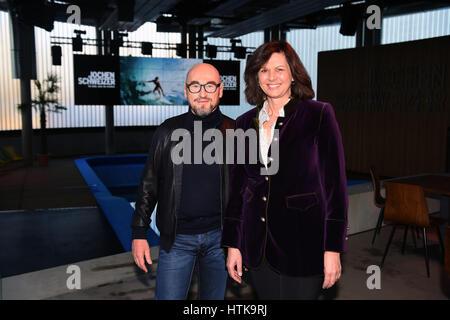 Taufkirchen, Germany. 8th Mar, 2017. Entrepreneur Jochen Schweizer with the Bavarian Minister of Economic Affairs - Stock Photo