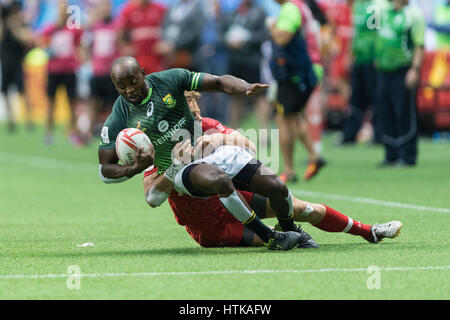 Vancouver, Canada. 12th Mar, 2017. Harry Jones (11) of Canada takes Sandile Ngcobo (8) of South Africa. Day 2-Cup - Stock Photo