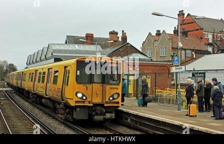 Southport, Merseyside, UK. 13th Mar, 2017. RMT Industrial action on the railways in Northern England. Cw 2052 Mersey - Stock Photo