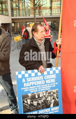 Westminster, London, UK 13th March 2017. Protesters from the Orgreave Truth and Justice Campaign hold a noisy protest - Stock Photo
