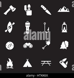 Vector white camping icons set on black background - Stock Photo