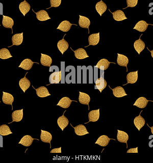 Leaves pattern. Gold hand painted seamless background. Abstract leaf illustration. - Stock Photo