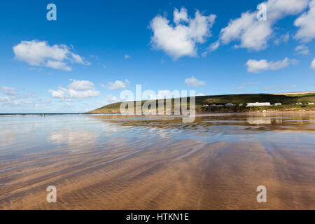 Vast stretch of sandy beach at Saunton Sands in North Devon, England, UK. - Stock Photo