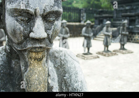 Stone Mandarin Honor Guards at Tomb of Khai Dinh Hue Vietnam. - Stock Photo