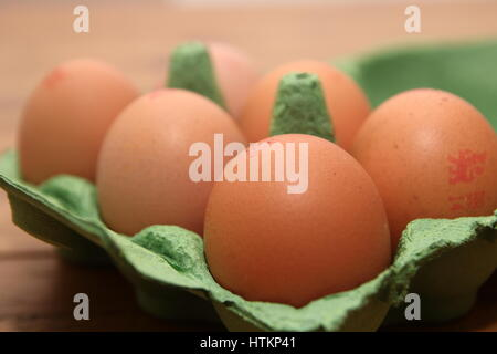 green egg box camberley uk dec 31 2016 brown eggs in green box with british