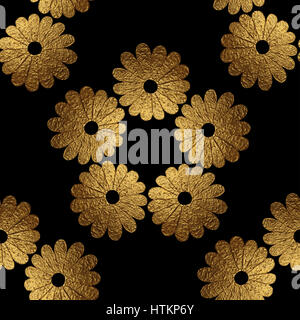 Gold abstract flowers pattern. Hand painted floral background. Nature seamless texture. - Stock Photo