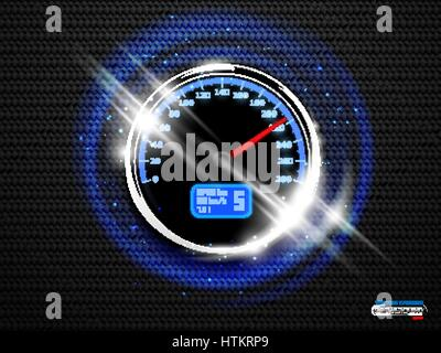Vector chrome ring speedometer glow on black carbon background. Speed poster design element with blue sparks and - Stock Photo
