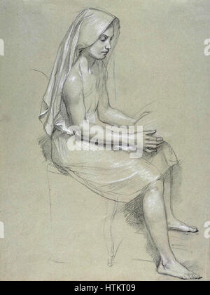 William-Adolphe Bouguereau (1825-1905) - Study of a Seated Veiled Female Figure (19th Century) - Stock Photo