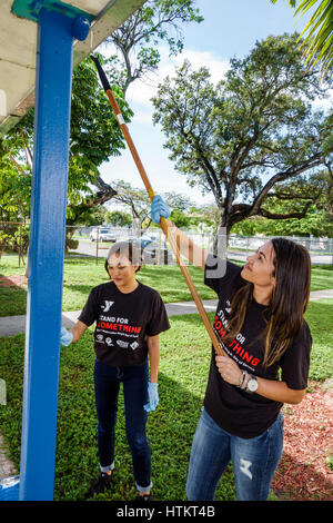 Miami Florida Allapattah Comstock Elementary School Martin Luther King Jr. Day of Service MLK beautification project - Stock Photo