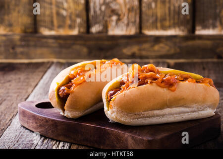 Homemade hot dogs with the onion sauce on top, New York street cart food - Stock Photo