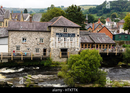 The Corn Mill cafe and bistro next to the Dee bridge in Llangollen Wales on the banks of the River Dee - Stock Photo