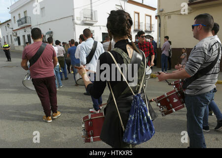 Parade with music in Trigueros, Huelva - Stock Photo
