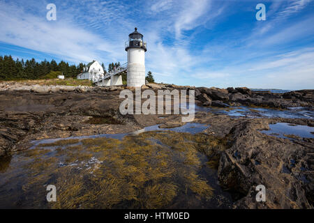 Marshall Point lighthouse in Port Clyde, Maine. This lighthouse is known as the beacon actor Tom Hanks ran to in - Stock Photo