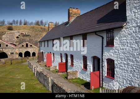 Stack Square cottages at Blaenavon Ironworks, Blaenavon, a World Heritage Site in Wales, United Kingdom - Stock Photo