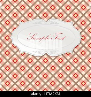 Oval frame. Seamless tartan pattern Square geometric background - Stock Photo