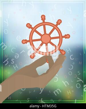 HAND DRIVE SHIP HOLD ON THE PHONE BACKGROUND. Illustration for your design. - Stock Photo