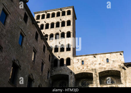 Plaza del Rey (King's Square) in  Barri Gòtic of Barcelona, Catalonia, Spain. - Stock Photo