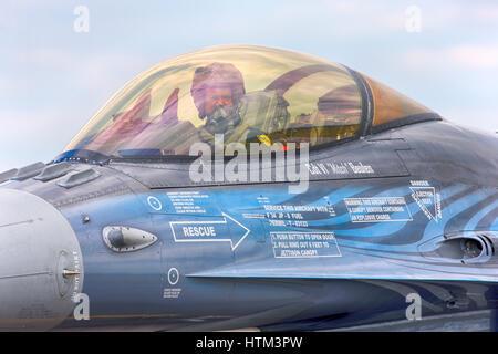 General Dynamics Lockheed Martin F-16AM Fighting Falcon FA-110  c/n: 6H-110  Belgian Air Component flown by  Michel - Stock Photo