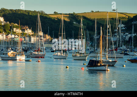 Boats anchored in the River Dart at Kingswear, Devon, England, UK - Stock Photo